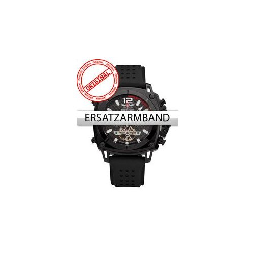 Perigaum Replacement Strap silicon P-1001 Black without Clasp 24 mm