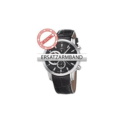 Bossart Replacement Strap Leather BW-1104 Black Silver Clasp