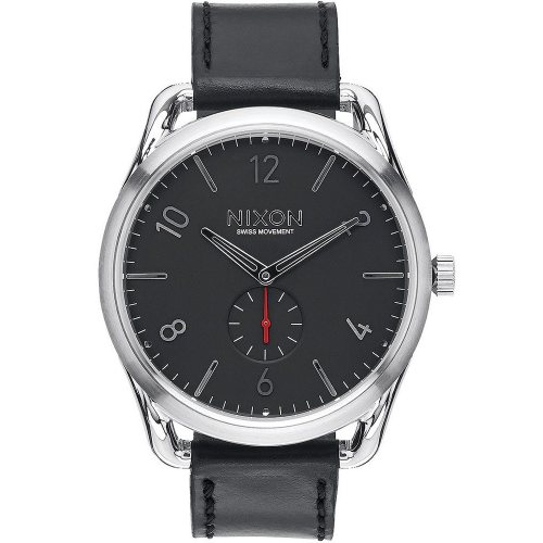 NIXON A465-008 C45 Leather Black Red 45mm 10 ATM